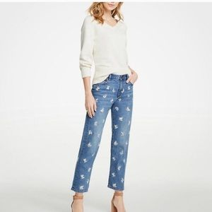 Ann Taylor embroidered straight ankle jeans 2p